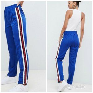 ASos Track Blue Pants With Studded Side Tape Sz 0